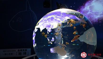 东京景点水族馆品川水族馆地球形状鱼缸