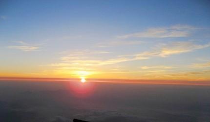 從富士山頂看到的日出景色