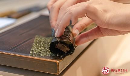 東京惠比壽高級壽司店推薦「鮨 おぎ乃」套餐「特上おまかせ握りコース」的壽司捲(巻物)的葫蘆條壽司捲