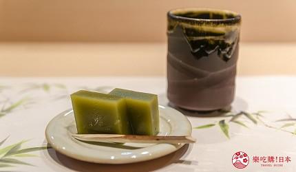 東京惠比壽高級壽司店推薦「鮨 おぎ乃」套餐「特上おまかせ握りコース」的當季甜點抹茶羊羹