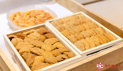 東京惠比壽高級壽司店推薦「鮨 おぎ乃」套餐「特上おまかせ握りコース」的三種海膽試吃