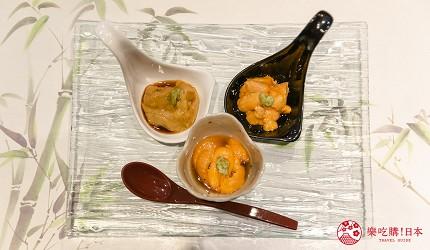 東京惠比壽高級壽司店推薦「鮨 おぎ乃」套餐「特上おまかせ握りコース」的三種海膽試吃裝盤