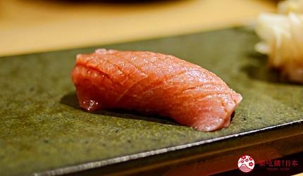 日本東京旅遊銀座高級壽司推薦推介江戶前壽司OMAKASE「鮨ふくじゅ」的鮪魚中腹吞拿魚中トロ