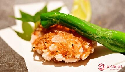 東京三田超強CP值居酒屋「樋口」的「翠」套餐的【合肴】趣炸蝦餅近照