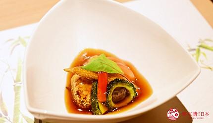 東京三田超強CP值居酒屋「樋口」的「翠」套餐的【強肴】黑醋汁玄米炸豬肉配夏季蔬菜遠照