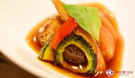 東京三田超強CP值居酒屋「樋口」的「翠」套餐的【強肴】黑醋汁玄米炸豬肉配夏季蔬菜近照