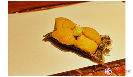 东京推荐天妇罗店「天ぷら きく元」的「无菜单乃木坂套餐」(店主おまかせ 乃木坂コース)的海胆天妇罗
