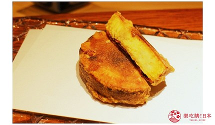 东京推荐天妇罗店「天ぷら きく元」的「无菜单乃木坂套餐」(店主おまかせ 乃木坂コース)的炸红薯