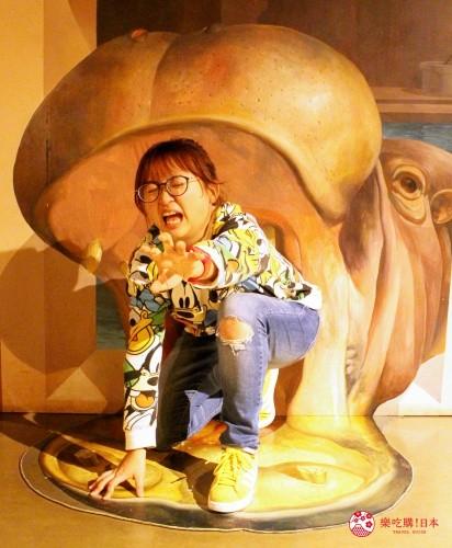 輕井澤一日遊好玩景點推薦的「錯視美術館」室內河馬錯視空間