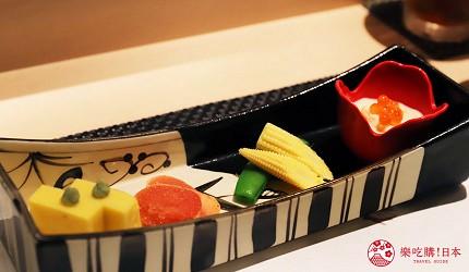 東京六本木必吃高級壽司「鮨 水月」的特上主廚精選套餐(特上おまかせコース)的開胃菜組合