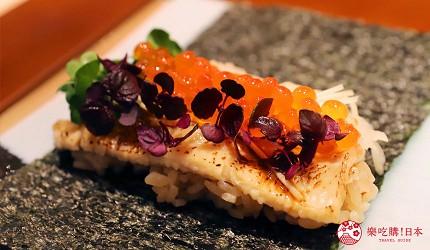 東京推薦高級日本料理店「銀座一」的野趣橫生食材協奏套餐(野趣溢れた食材が奏でるコース)的烤星鰻鮭魚卵手卷