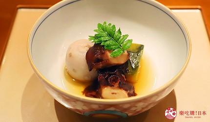 東京推薦高級日本料理店「銀座一」的野趣橫生食材協奏套餐(野趣溢れた食材が奏でるコース)的燉菜「章魚、芋頭與南瓜」