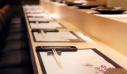 東京六本木必吃高級壽司「鮨 水月」的用餐吧台