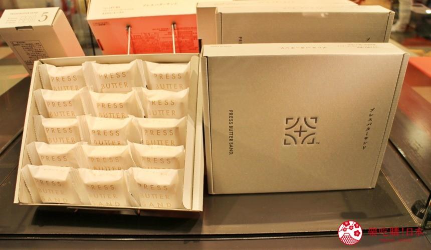 東京人氣PRESS BUTTER SAND焦糖奶油夾心餅的禮盒包裝