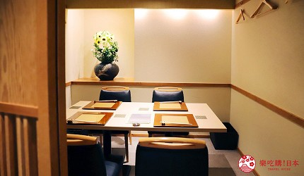 東京推薦高級日本料理店「銀座一」的包廂式座位