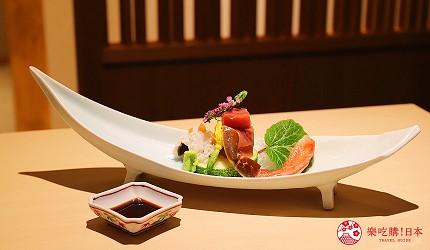東京神樂坂必吃螃蟹會席料理「美山 神樂坂」的美山套餐(美山コース)的蟹腳肉與鮪魚、鱧魚生魚片