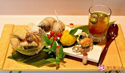 东京滨松町站高级寿司推荐「鮨 佐竹」的「极上おまかせ握りコース」套餐的前菜