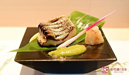 东京滨松町站高级寿司推荐「鮨 佐竹」的「极上おまかせ握りコース」套餐的西京渍鰤鱼