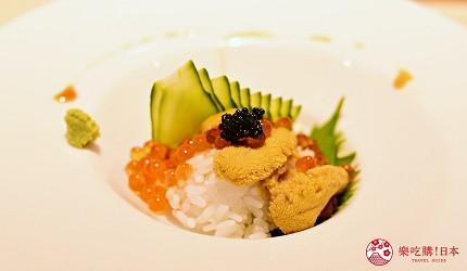 东京滨松町站高级寿司推荐「鮨 佐竹」的「极上おまかせ握りコース」套餐的海胆鲑鱼子迷你丼饭