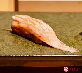 日本東京旅遊銀座高級壽司推薦推介江戶前壽司OMAKASE「鮨ふくじゅ」的鮪魚腹上(大トロ)