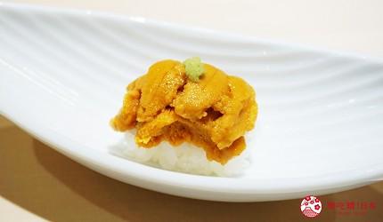 東京上野必吃高級壽司店「すし尽誠」的「おまかせコース」的海膽壽司