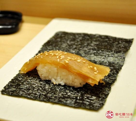 東京高質感壽司店推薦「赤坂 鮨葵」的「おまかせ握りコース」的葫蘆條卷(かんぴょう巻き)