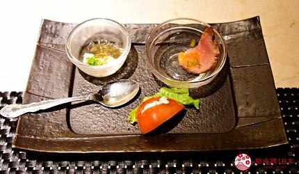 新宿必吃鐵板燒店「湛山」的「湛山特別套餐」(湛山スペシャルコース)的三種前菜拼盤