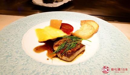 新宿必吃鐵板燒店「湛山」的「湛山特別套餐」(湛山スペシャルコース)的鐵板燒鵝肝(フォアグラのソテー)