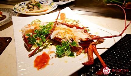 新宿必吃鐵板燒店「湛山」的「湛山特別套餐」(湛山スペシャルコース)的鐵板燒伊勢龍蝦