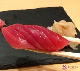 東京高級壽司店推薦「天鮨」的「特上無菜單握壽司+喝到飽套餐」(飲み放題付き、特上おまかせ握りコース)的鮪魚赤身