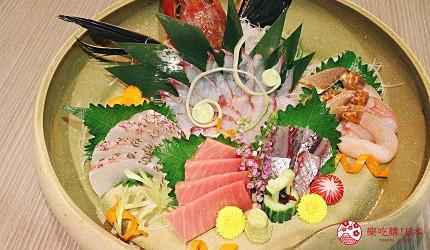 東京上野車站前超人氣居酒屋「蟹と海鮮 尊 上野店」的「VIP豪華螃蟹特餐」的螃蟹刺身與生魚片5種組合