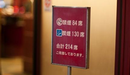 日本提供分煙,分開吸煙跟禁煙區的餐廳在門外的告示