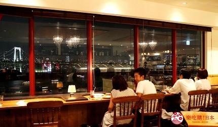 東京夜景景點推薦台場aquacity夜景餐廳theoven內景色