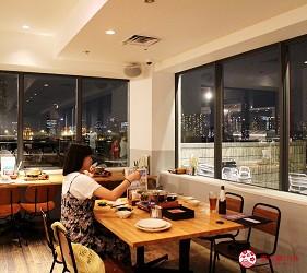 東京夜景景點推薦台場aquacity夜景餐廳日式涮涮鍋roku餐廳內景色