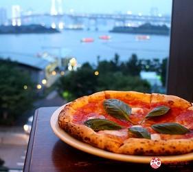 東京夜景景點推薦台場aquacity夜景餐廳CaféLABOHEME瑪格麗特披薩