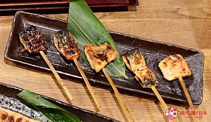 东京秋叶原美食烤鱼干干物专卖店越后屋平次5种综合鱼干串烧干物串おまかせ5本