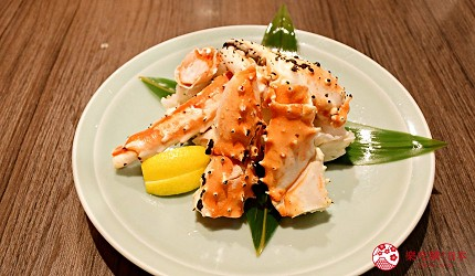 東京上野美食海鮮居酒屋推薦「酒亭じゅらく」上野店料理烤鱈場蟹焼きタラバ蟹