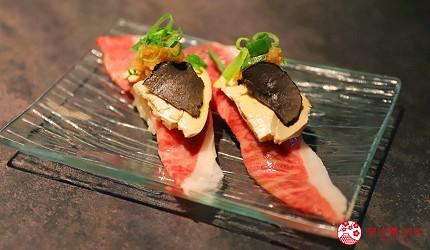 东京A5和牛烧肉平城苑银座五丁目店鹅肝酱松露和牛寿司フォアグラと和牛の握り2贯