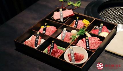 东京烧肉平城苑银座五丁目店A5和牛九宫格拼盘盛合せ和牛一头物语