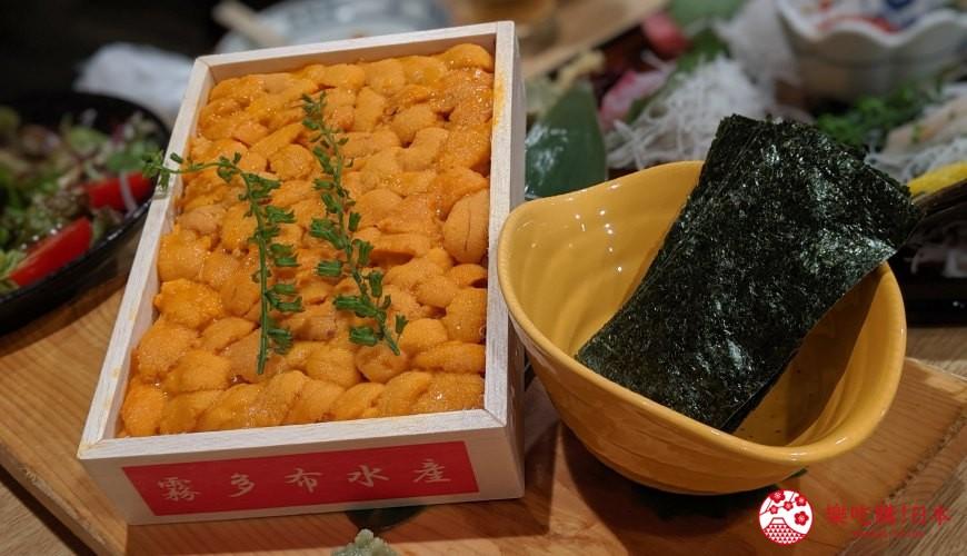 日本道地居酒屋內提供的海膽