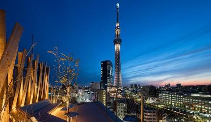 日本酒店評論家瀧澤信秋挑選的東京精品酒店排名 TOP 6 的「ONE@Tokyo」與東京晴空塔照片