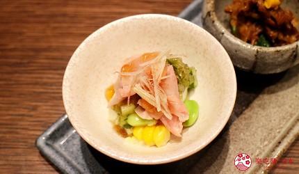 東京和牛米澤牛黃木銀座店的米澤牛特選涮涮鍋套餐前菜