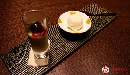 東京和牛米澤牛黃木銀座店的米澤牛特選涮涮鍋套餐的甜點