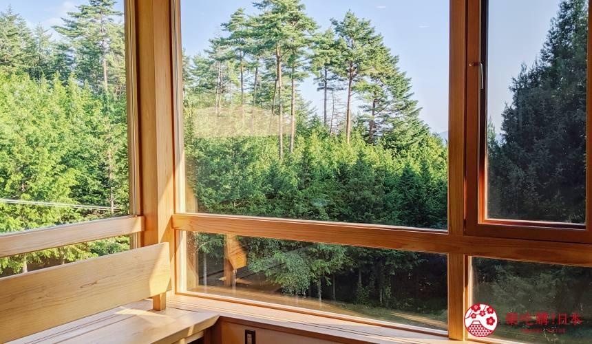 長野池田町住宿推薦民宿「八壽惠莊」的窗外景色