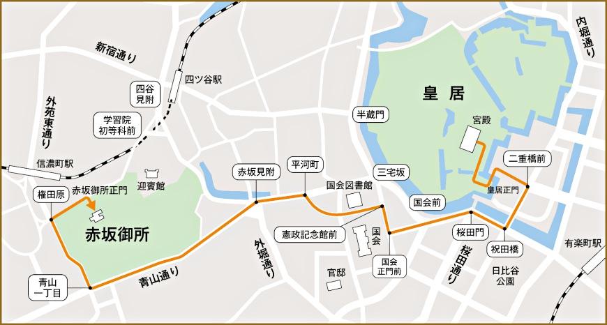 日本天皇即位11/10祝贺游行示意图