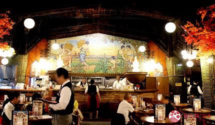 东京晚上夜间景点推荐银座居酒屋银座LION啤酒屋店内