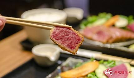 新宿必吃炸牛排专门店推荐「牛かつあおな」的霜降黑毛和牛套餐(霜降り黒毛和牛)套餐近照