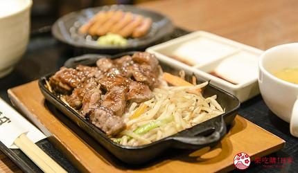 新宿必吃炸牛排专门店推荐「牛かつあおな」的炸牛排铁板定食套餐(牛カツ&鉄板コンボ定食)套餐的铁板烧