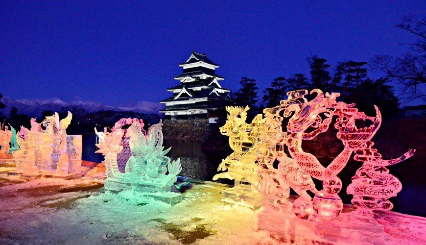 日本冬天自由行最好玩祭典松本冬日节的七彩冰雕