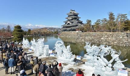日本冬天自由行最好玩祭典松本冬日节的七彩冰雕日拍